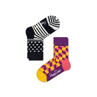 Detské farebné ponožky Happy Socks, dva páry – Stripe Dot a Filled Optic