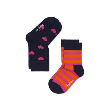 Dětské barevné ponožky Happy Socks, dva páry - srdíčka a pruhy