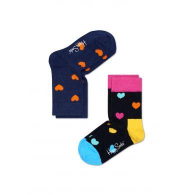Dětské barevné ponožky Happy Socks, dva páry - Hearts