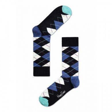 Modré ponožky Happy Socks s barevným károvaným vzorem Argyle