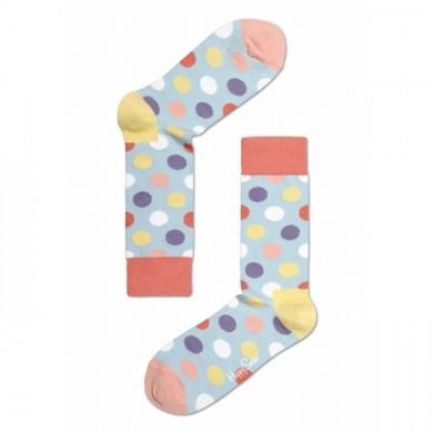 Šedé ponožky Happy Socks s barevnými puntíky, vzor Big Dot