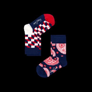 Dětské barevné ponožky Happy Socks, dva páry - Optic a Paisley