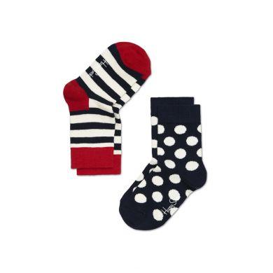 Dětské barevné ponožky Happy Socks, dva páry - pruhy a puntíky