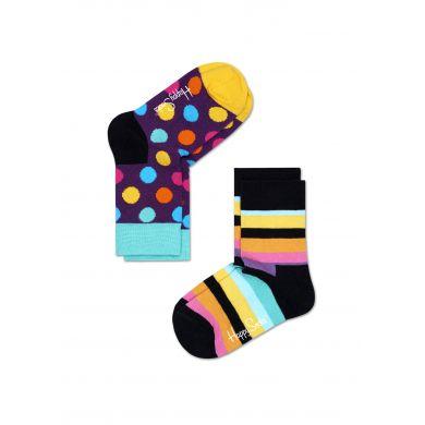 Dětské barevné ponožky Happy Socks, dva páry - proužky a puntíky