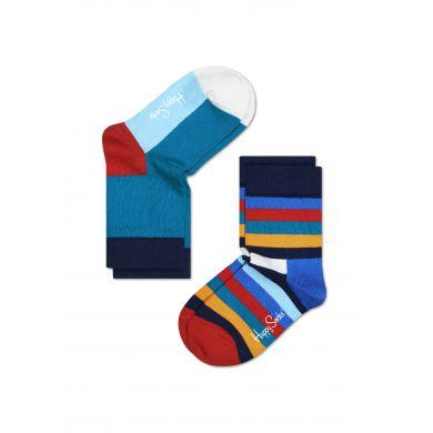 Dětské barevné ponožky Happy Socks, dva páry - Three colors and Stripes