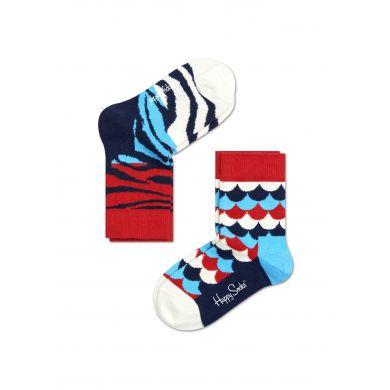 Dětské barevné ponožky Happy Socks, dva páry - šupiny a zebra