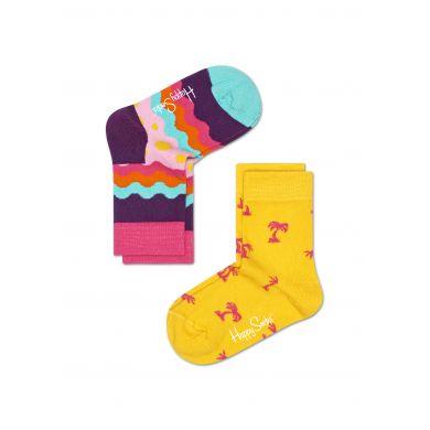 Dětské barevné ponožky Happy Socks, dva páry - Soda Pop a Palm Beach