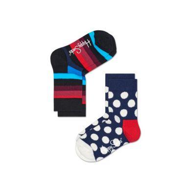 Detské farebné ponožky Happy Socks, dva páry – Big Dot a Stripes
