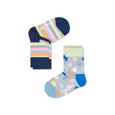 Detské farebné ponožky Happy Socks, dva páry - Big Dot a Stripe