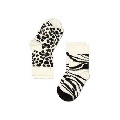 Dětské černobílé ponožky Happy Socks, dva páry - Leopard a Zebra
