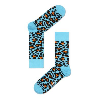 Modré ponožky Happy Socks s oranžovým vzorem Leopard