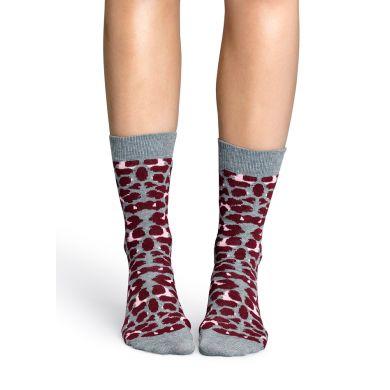 Šedivé ponožky Happy Socks s růžovým vzorem Leopard