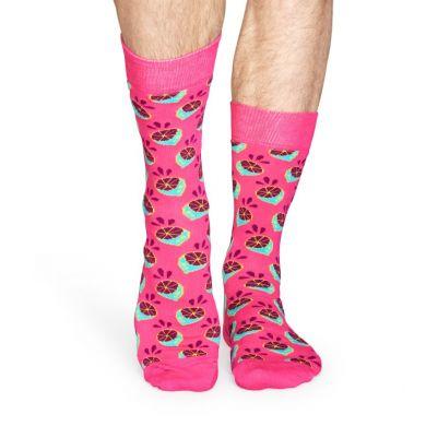 Ružové ponožky Happy Socks s farebnými limetkami, vzor Lime