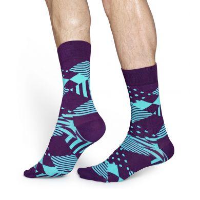 Modro-fialové ponožky Happy Socks se vzorem Multi Argyle