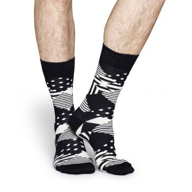 Černobílé ponožky Happy Socks se vzorem Multi Argyle