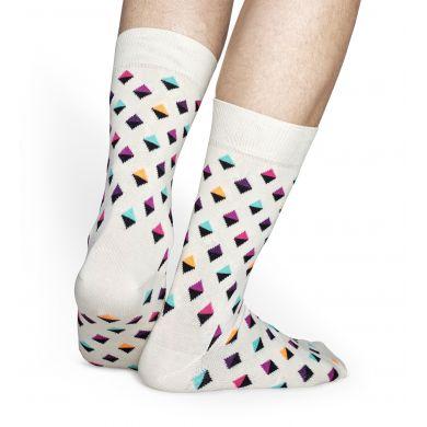 Bílé ponožky Happy Socks s barevnými kosočtverečky, vzor Mini Diamond