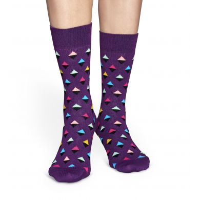 Fialové ponožky Happy Socks s barevnými kosočtverečky, vzor Mini Diamond