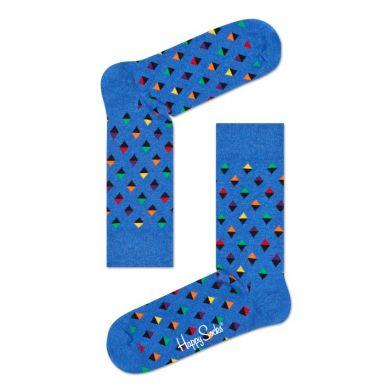 Modré ponožky Happy Socks s farebnými kosoštvorcami, vzor Mini Diamond