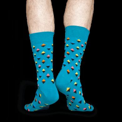 Modré ponožky Happy Socks s farebnými kosoštvorčekami, vzor Mini Diamond