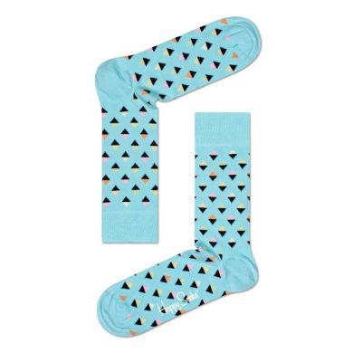 Svetlo-modré ponožky Happy Socks s farebnými kosoštvorčekami, vzor Mini Diamond