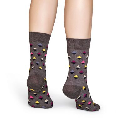 Šedo-hnedé ponožky Happy Socks s farebnými kosoštvorcami, vzor Mini Diamond