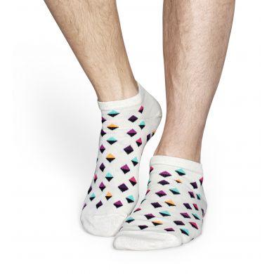 Nízke bílé ponožky Happy Socks s barevným vzorem Eighties