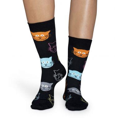Černé ponožky Happy Socks s barevnými kočkami, vzor Cat