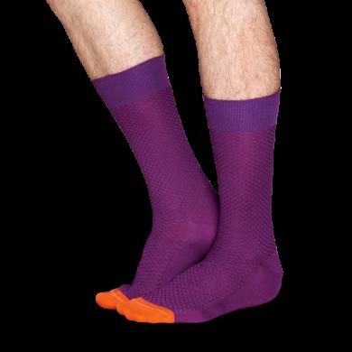 Fialové ponožky Happy Socks s tečkami, vzor Moss Knit // kolekce Dressed