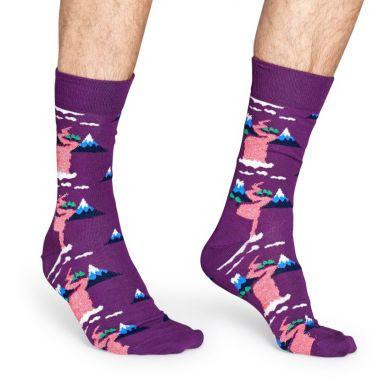 Fialové ponožky Happy Socks, vzor Mountain // kolekcia Special Special