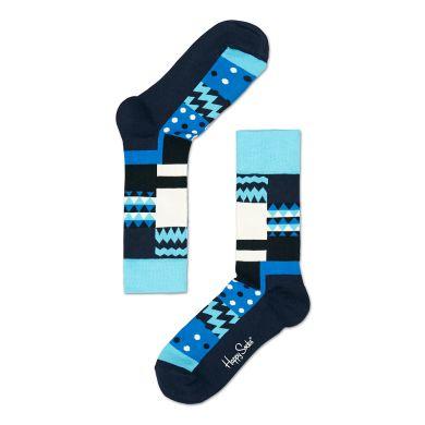Modré ponožky Happy Socks se čtverci, vzor Multisquare