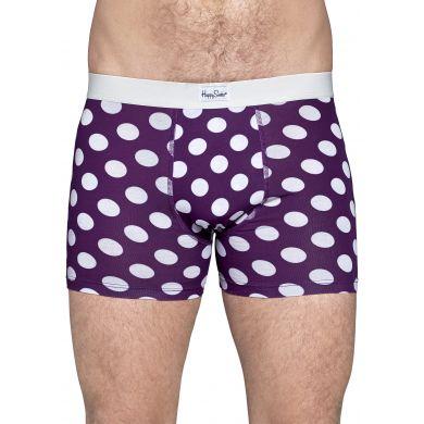 Fialové boxerky Happy Socks s bílými puntíky, vzor Big Dot