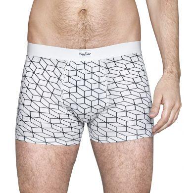 Bílé boxerky Happy Socks s černým vzorem Optic