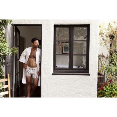 Bílé boxerky Happy Socks s černými čárkami, vzor Sprinkles