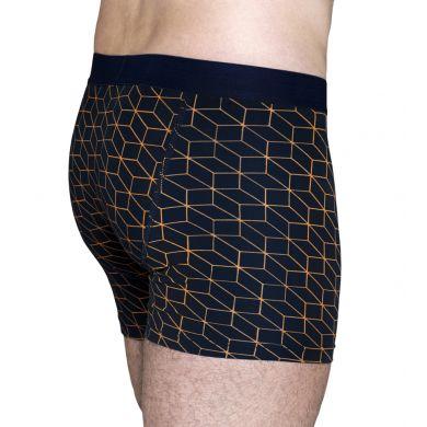 Modré boxerky Happy Socks s oranžovým vzorem Optic