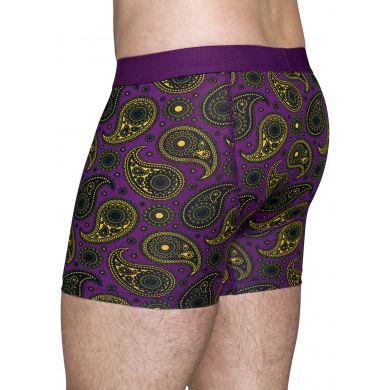 Fialové boxerky Happy Socks se žlutým vzorem Paisley