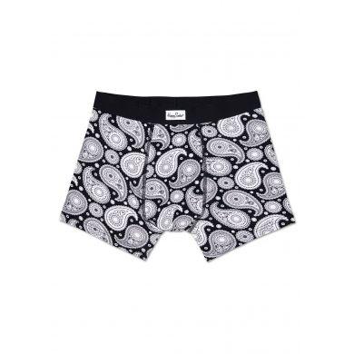 Černé boxerky Happy Socks s bílým vzorem Paisley