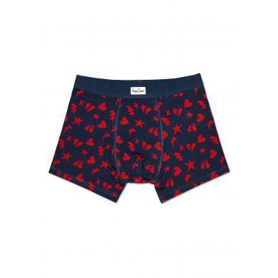 Modré boxerky Happy Socks s červenými srdíčky, vzor Punk Love