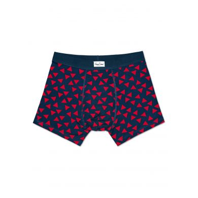 Modré boxerky Happy Socks s červenými trojúhelníky, vzor Random Triangle