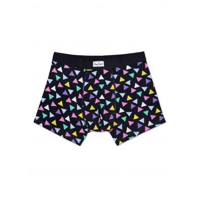 Černé boxerky Happy Socks s barevnými trojúhelníky, vzor Random Triangle