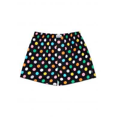 Čierne trenírky Happy Socks s farebnými bodkami, vzor Big Dot