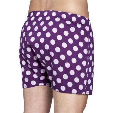 Fialové trenýrky Happy Socks s bílými puntíky, vzor Big Dot