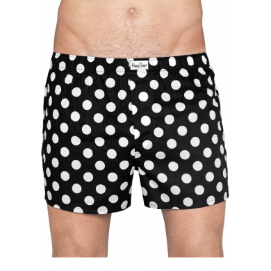 Černé trenýrky Happy Socks s bílými puntíky, vzor Big Dot