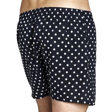 Černé trenýrky Happy Socks s bílými tečkami, vzor Dot
