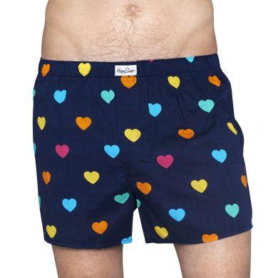 Modré trenýrky Happy Socks s barevnými srdíčky, vzor Hearts