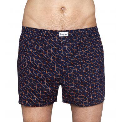 Modré trenýrky Happy Socks s oranžovým vzorem Optic