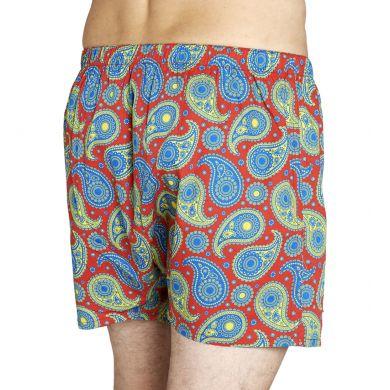 Červené trenýrky Happy Socks s modrým vzorem Paisley