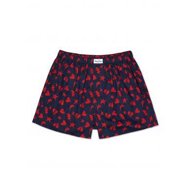 Modré trenýrky Happy Socks s červenými srdíčky, vzor Punk Love