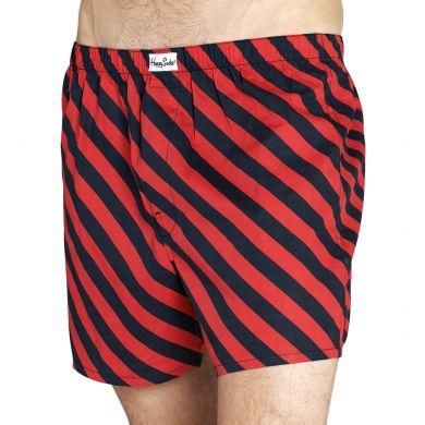 Červeno-černé trenýrky Happy Socks s pruhy, vzor Stripe