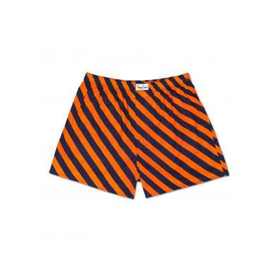 Oranžové trenýrky Happy Socks s modrými pruhy, vzor Polka