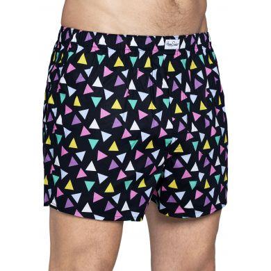 Černé trenýrky Happy Socks s barevnými trojúhelníky, vzor Random Triangle